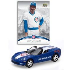DIECAST CONVERTIBLE CORVETTE CHICAGO CUBS WITH A SPECIAL EDTIION BILLY WILLIAMS TRADING CARD by Upperdeck  $9.29