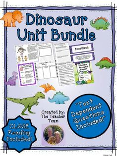 Dinosaur Unit ~ Close Reading ~ Text Dependent Questions : We have developed this Common Core aligned, complete Dinosaur Unit with CLOSE Reading passages, research report, text dependent questions, and essential questions that contains everything needed to teach a rigorous unit on the dinosaurs. $