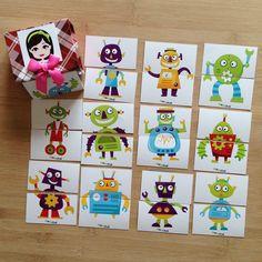 Pia Polya İki Parçalı Robot Görsellerini Tamamlama Kartları 18ay ve 36ay çocukarınız için uygundur. A3