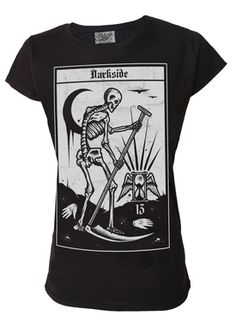Death Cult Tarot Card Women's T Shirt - Darkside premium fine knit cotton longer length t shirt with oversized super soft feel print