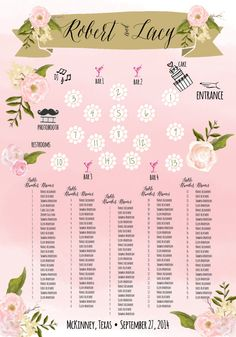Custom Floral Wedding Seating Chart by cwdesigns2010 on Etsy