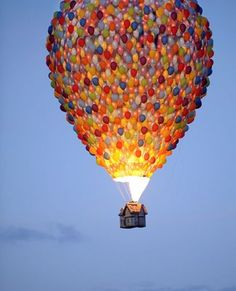 So magical - Hot air balloon made up of . . . balloons with house-shaped carrier basket!