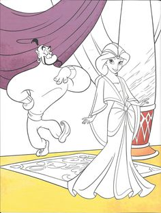 Jasmine & Genie Colouring Page Disney Coloring Sheets, Princess Coloring Pages, Blank Coloring Pages, Coloring Books, Colouring, Disney Princess Jasmine, Disney Paintings, Elves Fantasy, Cartoon Pics