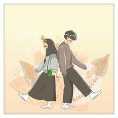 kumpulan anime kartun romantis anyar - my ely Korean Anime, Korean Art, Cute Muslim Couples, Cute Anime Couples, Cute Cartoon Wallpapers, Cute Wallpaper Backgrounds, Islamic Cartoon, Anime Muslim, Hijab Cartoon