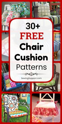free chair cushion & cover patterns, tutorials, and diy projects to sew for your kitchen and dining chairs, outdoor furniture, and more. Instructions for how to make your own chair cushions. Cushion Cover Pattern, Chair Cushion Covers, Outdoor Cushion Covers, Outdoor Chair Covers, Chair Pillow, Kitchen Chair Cushions, Rocking Chair Cushions, Dining Chairs, Outdoor Chair Cushions Diy