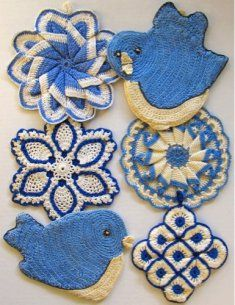 Vintage Blues Potholder Crochet Pattern http://www.maggiescrochet.com/vintage-blues-potholder-crochet-pattern-p-1683.html #vintage #blues #potholder #crochet