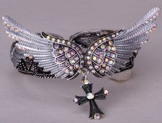 Crystal Antique Silver Plated Wings & Cross Bracelet Bangle