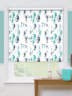 Splash Seahorses Marine Roller Blind - featuring a quirky design of undersea critters frolicking together, this waterproof roller blind will add a bubbly personality to your bathroom. Bathroom Blinds, Laundry In Bathroom, Blinds Online, Window In Shower, Blackout Blinds, Green Theme, Window Dressings, Wet Rooms