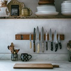 Peg and Awl Knife Magnet made from 1800s pipe organ pipe in the dreamy kitchen of Beth Kirby of | local milk | on instagram