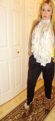 Vest: Zara (similar here), Cardigan: Anthropologie, Top: H&M, Scarf: Alexander McQueen, Pants: H&M, Boots: Aldo, Necklace: Kenneth Jay Lane, Earrings: One Kings Lane