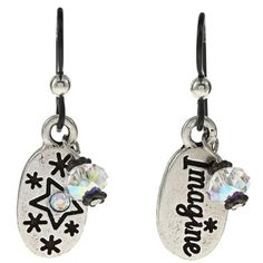 @Overstock - These charm message earrings encourage everyone to open your mind and heart and 'Imagine'. Accented by AB Swarovski crystals, these earrings dangle beautifully from Argentum sterling silver hooks.  http://www.overstock.com/Main-Street-Revolution/MS-DJ-Casanova-Tierracast-Pewter-Imagine-Charm-Crystal-Earrings/6071078/product.html?CID=214117 $19.49