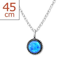 Sterling Silver Round Glossy Azure Opal Necklace