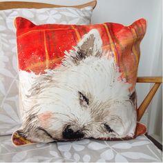 Westie Tartan Rug Cushion - A Bentley Cushions Luxury Cushions, West Highland Terrier, Westies, Jute, Tartan, Presents, Tapestry, Throw Pillows, Poufs