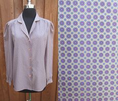 Classic Secretary Blouse Tan with Purple & Blue Dots from Ship N Shore Polyester Button Down Shirt Long Sleeve Sz 14 by GeekGirlRetro on Etsy