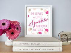 "Printable - Fuchsia Glitter Gold Blush Confetti ""She Leaves A Little Sparkle Wherever she Goes"" Nursery baby girl kid's room decor by CheekyAlbi, $6.00"