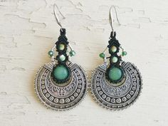Tribal Earrings / Stone Earrings / Macrame earrings | Etsy