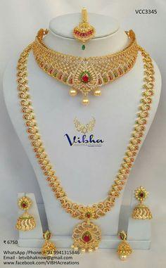 Indian Bridal Jewelry Sets, Wedding Jewelry Sets, Bridal Jewellery, Indian Jewelry, Gold Mangalsutra Designs, Gold Jewellery Design, Gold Jewelry, Gold Models, Jewelry Patterns