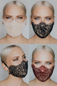 Coronavirus and fashionable face masks by Katie May Easy Face Masks, Homemade Face Masks, Diy Face Mask, Mouth Mask Fashion, Fashion Face Mask, Masque Anti Pollution, Lace Mask, Diy Mask, Cute Faces