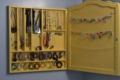 great jewelry storage - http://tatertotsandjello.blogspot.com/search/label/diy
