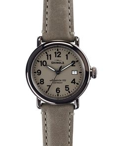 28b04f119d1 Shinola The Runwell Stainless Steel Watch with Gray Leather Strap