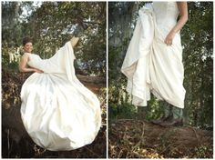 Bridal session at Brazos Bend State Park in Needville, TX   © Degrees North Images   Houston wedding photographer, Texas wedding photographer   carefree bridals, rustic bridals, country bridals, live oak tree, cowboy boots