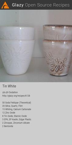 Glazy Ceramics Pottery Recipe: Glaze, White, Off-White, Cone Oxidation Ceramic Workshop, Ceramic Studio, Ceramic Clay, Ceramic Techniques, Pottery Techniques, Glazes For Pottery, Ceramic Pottery, Pottery Lessons, Ceramic Glaze Recipes