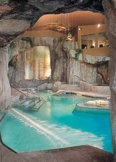 House Pool, Wow Amazing                                                                                                                                                                                 More Basement Pool, Basement House, Basement Ideas, Grotto Pool, Awesome Pools, Amazing Swimming Pools, Luxury Pools, Luxury Swimming Pools, Indoor Swimming Pools