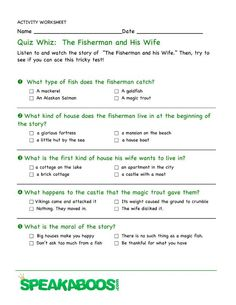 Quiz Whiz: The Fisherman and His Wife | Speakaboos #Worksheets #quiz #education #kids