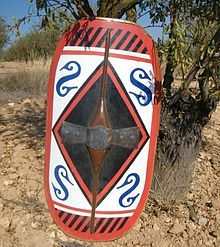 Scutum in Kelin - Scutum (shield) - Wikipedia, the free encyclopedia Iron Age, Celtic Shield, Celtic Clothing, Punic Wars, Greek Men, Roman Warriors, Roman Legion, Roman Republic, Shield Design