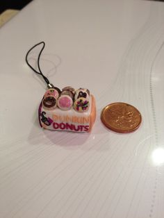 Polymer Clay Charm Dunkin Donuts with 9 Donuts by craftsbymorgan, $8.00