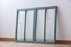 すりガラス入り!レトロデザイン シンプルなペイントガラス戸2枚セット(窓)