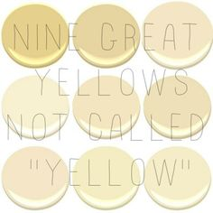 9 of the 10 most popular Benjamin Moore Yellows Concord Ivory desert Tan Hemplewhite Ivory Mannequin Cream Montgomery White Philadelph Neutral Wall Colors, Yellow Paint Colors, Neutral Walls, Interior Paint Colors, Yellow Painting, Paint Colors For Home, Yellow Interior, Interior Design, Interior Painting