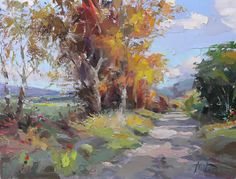 Beautiful Landscape Paintings, Cool Paintings, Watercolor Landscape, Landscape Art, Watercolor Art, Autumn Scenery, Yellow Art, Impressionist Art, Art Pictures