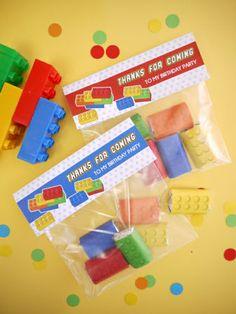 Super fun mini chocolates looking like Lego Inspired bricks - perfect for Lego inspired Birthday
