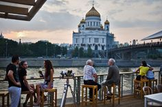 View of the Cathedral of Christ the Saviour from Bar Strelka's terrace at Red October