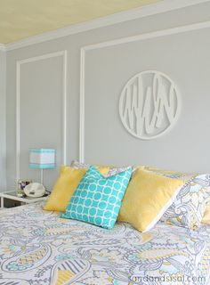 Gray + Yellow + Turquoise Teen Bedroom #HelloBeautiful by blogger Sand and Sisal
