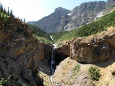 Burnt Rock Falls on the hike from Crypt Landing to Crypt Lake in Waterton Lakes National Park, Alberta, Canada.