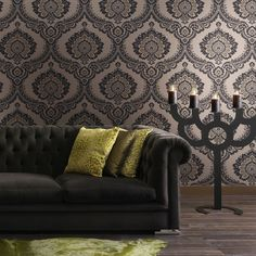 65.00$  Watch here - http://alim65.worldwells.pw/go.php?t=1013188013 - Quality Black &Gold Color Register Velvet Victorian Damask Wallpaper Roll Flocked Soundproof Dark Textile  Background Wall Decor