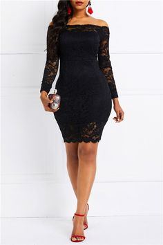 Ericdress Nine Points Sleeve Off Shoulder Plain Lace Dress,Slash Neck Above Knee Patchwork Pullover Off-The-Shoulder Dresses Lace Dress Styles, African Lace Dresses, African Fashion Dresses, Prom Dress Shopping, Online Dress Shopping, Dinner Gowns, Ladies Day Dresses, Evening Dresses, Prom Dresses