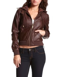 CHARLOTTE RUSSE: Hooded Brown Bomber Jacket [Brown] $39.99  I wonder if they have this in black?