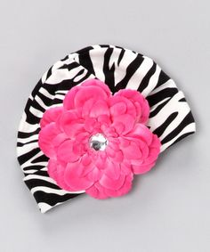 Diapers and Denim zebra hat with flower