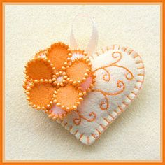 Happy Heart Orange Flower, handmade by me of 100% wool felt