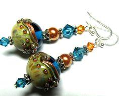 Lampwork Earrings Handmade Lampwork Beads Artisan by SeeMyJewelry, $32.00