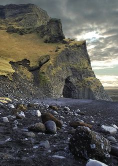 Basalt Columns at Reynisfjara Beach, Dyrhólaey Peninsula, South Iceland (near the village of Vík)