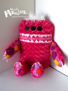 GIANT Cuddle Monster Pillow DOTTIE zipper by MostlyMonstersCV, $40.00