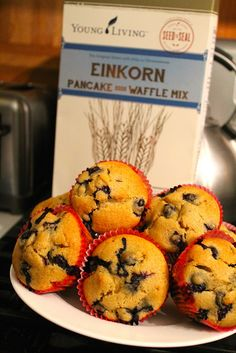 Young Living Einkorn Blueberry Muffins. Einkorn flour is preservative free and non GMO.