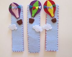 Felt bookmark: Hot-air ballon by TinyFeltHeart on Etsy Felt Crafts Diy, Crafts For Kids, Felt Bookmark, Diy Bookmarks, Book Markers, Sewing Toys, Planner, Felt Toys, Book Making