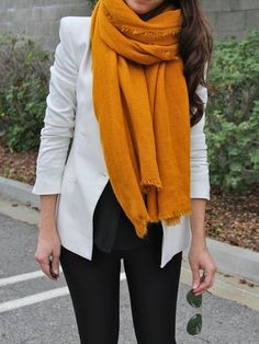 Mustard adds some fall flavor to a simple black and white look