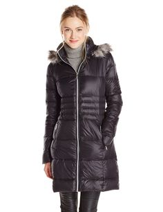 BCBGeneration Women's Mid Length Packable Down Coat with Fur Hood at Amazon Women's Coats Shop