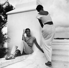 Bermuda 1947 - how divine is the neck and sleeve lines of that dress??? Pin provided by Elbow Beach Cycles www.elbowbeachcyc...